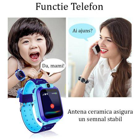 Ceas smartwatch copii GPS Q12, rezistent la apa, telefon, touchscreen, foto, monitorizare spion, buton SOS, roz 4